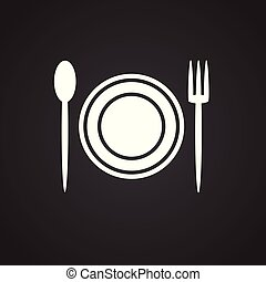 Plate fork spoon on black background for web or app using