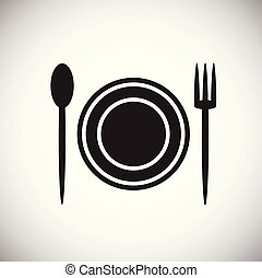 Plate fork spoon on white background