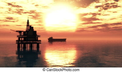 plate-forme, 2, pétrolier, huile