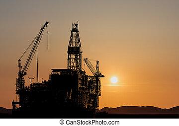 plate-forme, construction, huile, nouveau