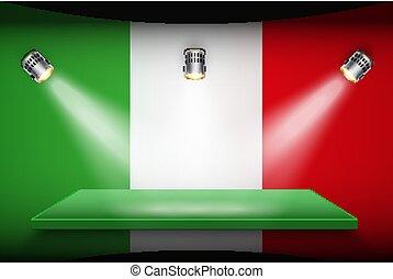 plate-forme, drapeau, italie, projecteurs