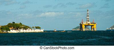plate-forme, guanabara, pétrole, marin, baie