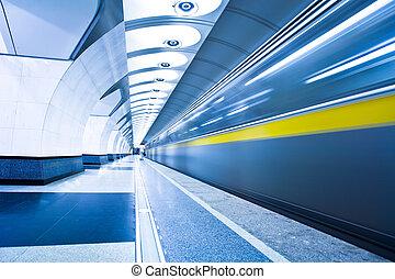 plate-forme, train, métro