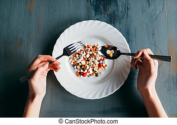 Plate full of drugs, weight loss diet concept
