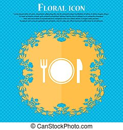 Plate icon sign. Floral flat design on a blue abstract background with place for your text. Vector