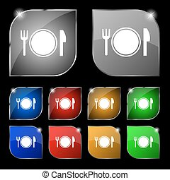 Plate icon sign. Set of ten colorful buttons with glare. Vector