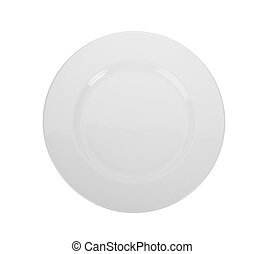 plate isolated on white background. top view