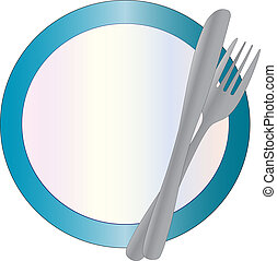 Plate, knife and fork - a blue rimmed plate with cutlery