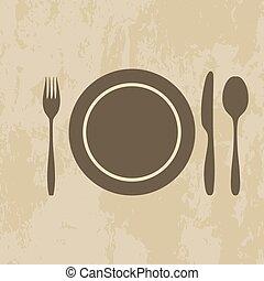plate, knife, fork, spoon