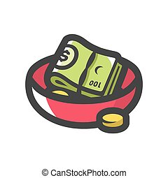 Plate money. Alms. Waiter Tips. Vector Cartoon illustration...