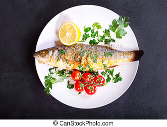 plate of baked sea bass