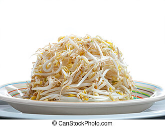 Plate of Bean Sprouts isolated on white background.