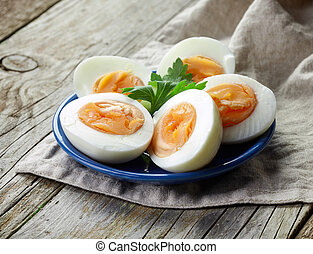 plate of boiled eggs