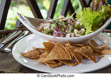 Plate of Ceviche, a popular dish in Central and South...