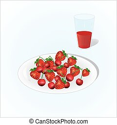 Plate of cherry and strawberry with glass of juice, vine, plate of fruits on light background