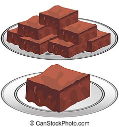 Plate of Chocolate Fudge Brownies - An image of a plate of...