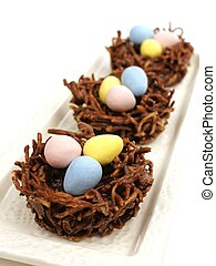 Plate of chocolate nests