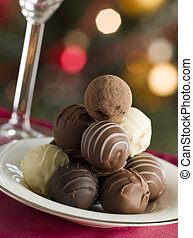 Plate of Chocolate Truffles