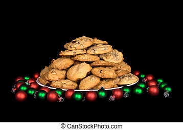 Plate of Christmas Chocolate Chip Cookies