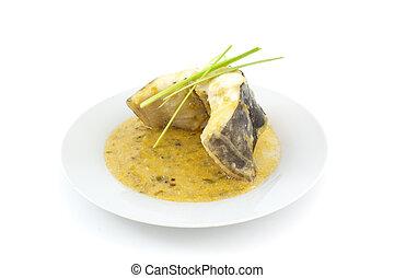 conger with leek sauce - plate of conger with leek sauce