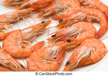 Plate of cooked prawns unpeeled
