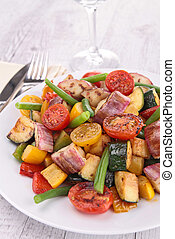 plate of cooked summer vegetables