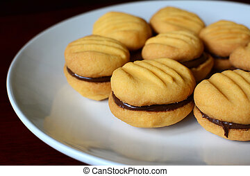Plate of cookies with chocolate hazelnut filling