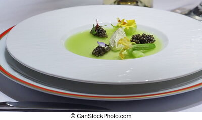 Plate of Delicious food in Luxury Restaurant. HD