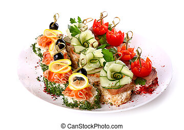 Plate of different canapes