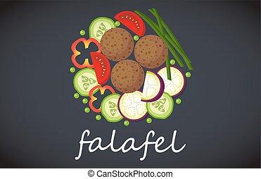 Plate of falafel. Top view. - Plate of vegetarian falafel....
