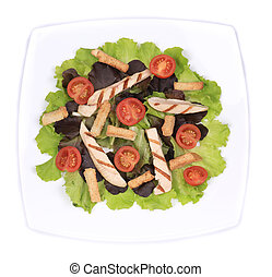 Plate of fresh caesar salad.