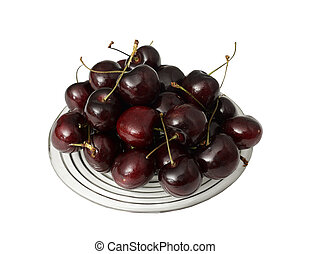 Plate of fresh Cherries on a white