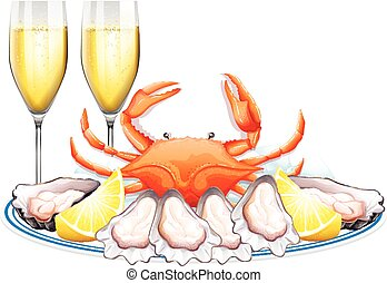 Plate of fresh crab and oysters