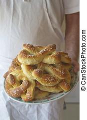 Plate of Freshly Baked Philadelphia Soft Pretzels