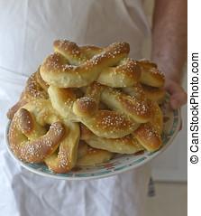 Plate of Freshly Baked Soft Pretzels