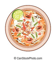 Plate of Green Papaya Salad with Dried Shrimps - Cuisine and...