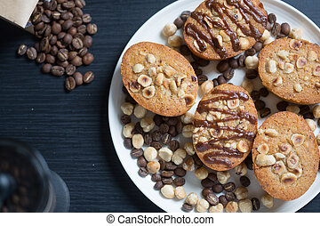 Plate of hazelnut and coffee cakes