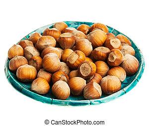 Plate of hazelnuts