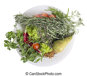 Plate of herbs and vegetables.