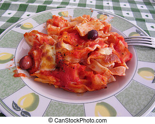 Plate of home made baked pasta - Plate of home made italian ...