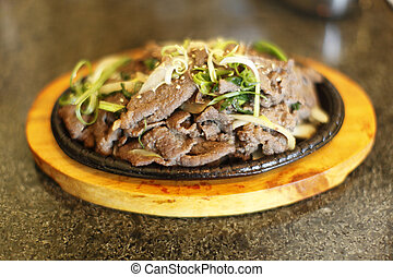 Plate of Korean style beef