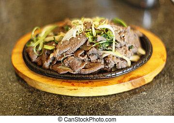 Plate of Korean style beef