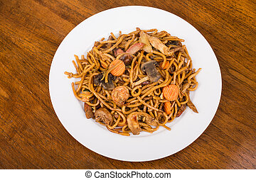 Plate of Lo Mein with Vegetables and Shrimp
