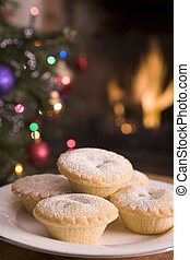 Plate of Mince Pies Log Fire and Christmas Tree