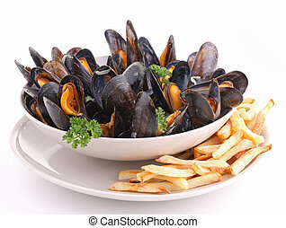 plate of mussels and french fried on white background