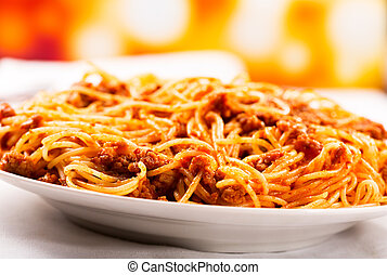 plate of of spaghetti bolognese