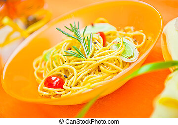 plate of pasta on the table