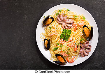 plate of pasta with seafood