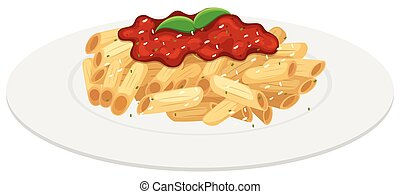 Plate of penne pasta with tomato sauce illustration