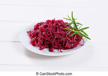 pickled red cabbage - plate of pickled red cabbage on white ...